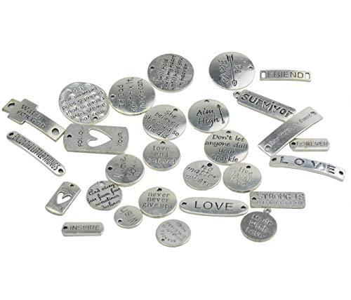 (Makhry Mixed 56 Inspirational Words Charms Anhänger Perlen für Halskette Armbänder Schmuckherstellung Liefert DIY Handwerk (Antikes Silber))
