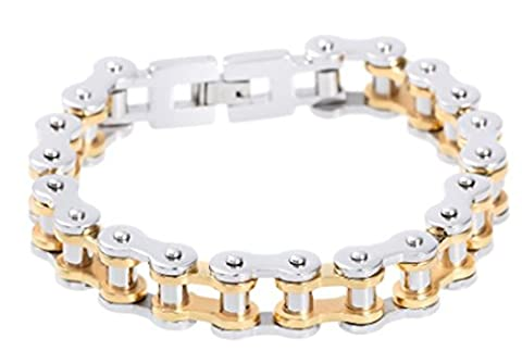 SaySure- Biker Bicycle Chain Bracelet Gold Plated Stainless Steel