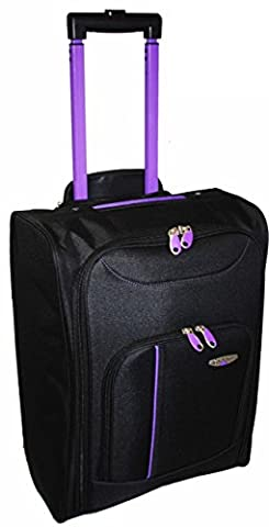 Hand Luggage Cabin Bag Trolley with Wheels Flight Bags Suit Case for Easyjet, Ryanair, British Airways, Virgin, FlyBe, Jet 2 and Many others Airlines or Travel (Black / Purple)