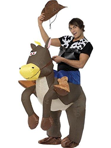 Smiffys Herren Kostüm Cowboy auf Pferd aufblasbar Karneval Fasching