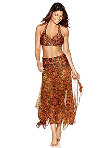 M&Co Ladies Swimwear Butterfly Tile Print Sheer Mesh Two In One Strapless Swim Skirt Beach Dress Cover Up Orange S/M