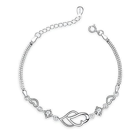 Fashmond Armband Lila Herzen Armreif für Damen Frauen Mädchen Herren Männer Kinder Freundin Freund ValentinstagGeschenk