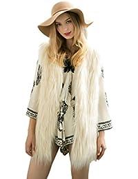 4320d268c417ad DINGANG® Damen Pelz Fellweste Weste Frauen Lederweste Fellweste Faux Fur  Vest Gilet Waistcoat Winter,