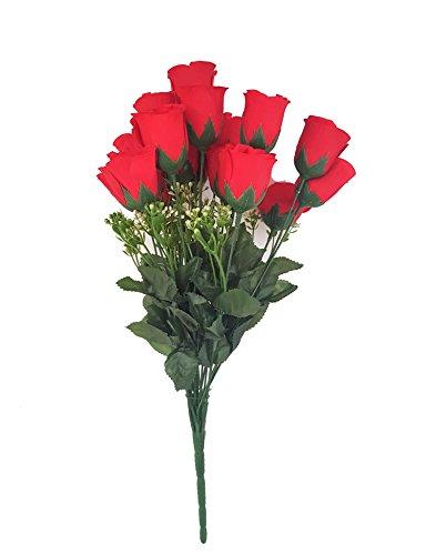 Rosen Kunstblumen Strauß Rot Dekoration Schmuck Grab Haus – 18 Stück