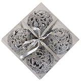 Große Weihnachtskugeln (Durchmesser 10 cm), 4 Stück - Silber (künstlich)