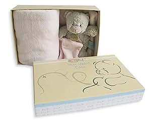 Babynat - Mon coffret Câlin - Doudou mouchoir ours gris et rose 20 cm + Couverture 90 x 90 polaire - Genre : Bébé fille - En coffret / Boite cadeau naissance