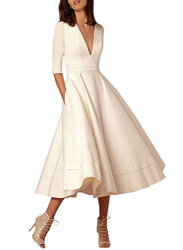 Azbro Women's V Neck Half Sleeve Solid A-line Party Dress, White S