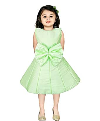 JBN Creation Baby Girls Silk Cotton Blend Bubble Dress (Size: 12-18 Months, Color Light Green)
