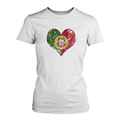 Fashionalarm Damen T-Shirt - I Love Portugal | Fun Shirt Trikot mit Vintage Flagge Print für Fußball & Portoguesa Fans | Algarve Urlaub | EM & WM, Farbe:weiß;Größe:M