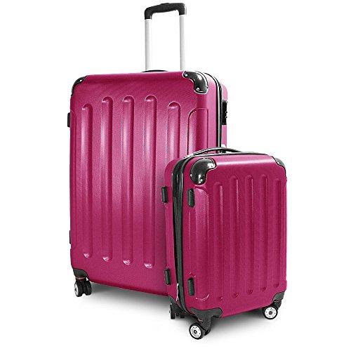 BERWIN® Kofferset M + XL 2-teilig Reisekoffer Trolley Hartschalenkoffer ABS Teleskopgriff Modell Stripes (Pink)