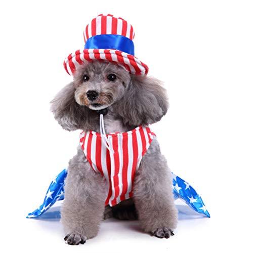 Hund Kostüm weiße Sterne Streifen Kleidung mit Hut für für Gedenktag für kleine Hundegröße m (Mädchen) ()