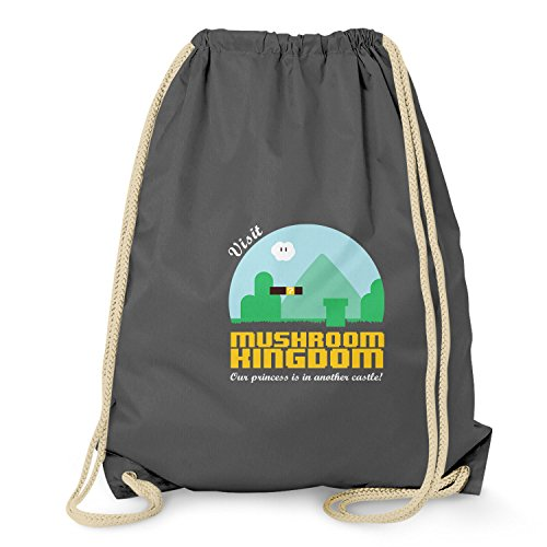 NERDO - Visit Mushroom Kingdom - Turnbeutel, grau (T-shirt Light Donkey)