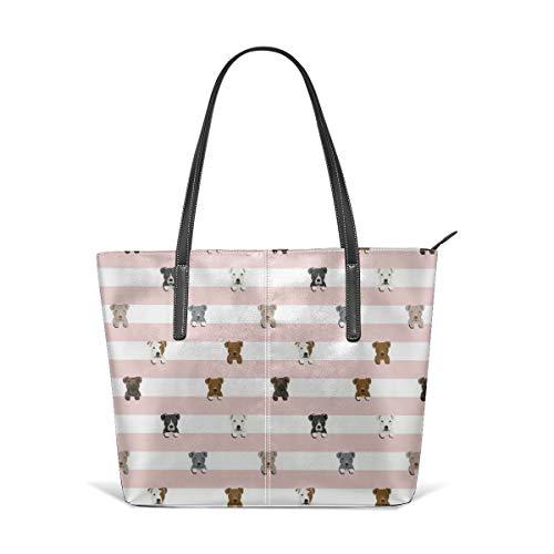 Frauen weiches Leder Tote Umhängetasche Pitbull Stripes Dog Breed Fashion Handtaschen Satchel Purse - Stripe Zip Satchel
