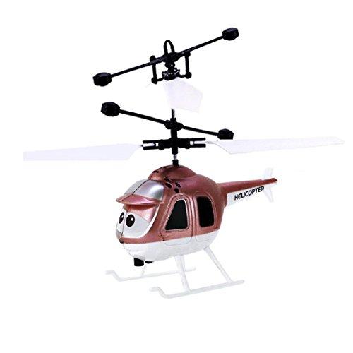 Induktions Infrarot Hubschrauber, Sansee Fliegen Mini RC Infraed Induktion Hubschrauber Flugzeug Blinklicht Spielzeug Für Kid (#1112, Gold)