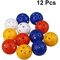 TOYMYTOY 12pcs perforó bolas plásticas del juego hueco de la práctica del golf que entrenaba las bolas de los deportes (colores mezclados)
