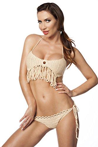 Damen Häkel Bikini Neckholder Top und Slip aus Baumwolle in beige mit Fransen OneSize XS-L Beige
