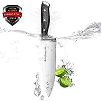 Emojoy Couteaux de Chef, Couteaux Japonais, Couteaux de Cuisine Professionnel 20cm Lame en Acier Inoxydable avec Poignée Ergonomique Anti Dérapante