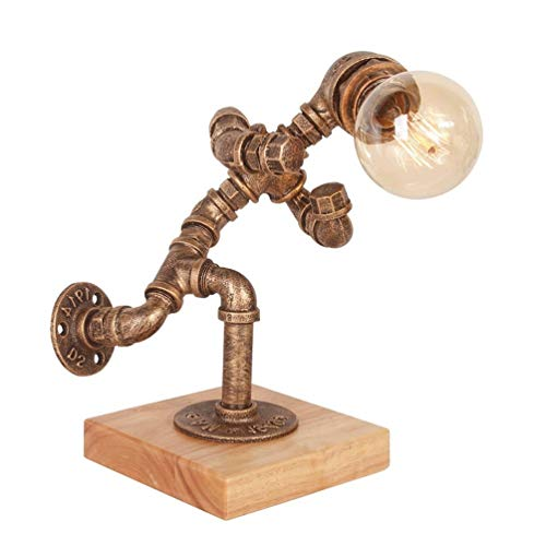 Tea fairy Wrought Iron Loft Table/Desk Lamp, Steampunk Industrial Vintage Style Water Pipe Table Desk Light Dimming Light Home Decoration Robot Desk Lamps For Restaurant,Bar, Coffee Shop Lights