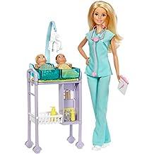 Barbie Quiero Ser Pediatra, muñeca rubia con accesorios (Mattel ...