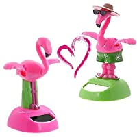 URGrace 2Pcs Desk Dancing Solar Toy Flipping Wings Flamingo Animal Solar Powered Toys Dashboard Office Desk Home Decoration Novelty Solar Kids Christmas Toy