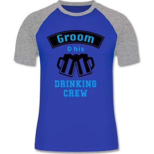 JGA Junggesellenabschied - Groom and his drinking crew - zweifarbiges Baseballshirt für Männer Royalblau/Grau meliert