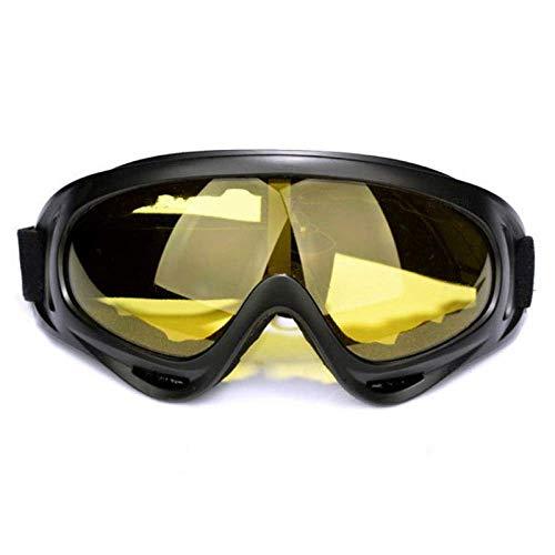Mnjin Skibrille Winter Windschutzbrille Schneesportski Anti-Fog-Motorschlitten Windschutz Staubschutzbrille UV400 Skateboarding Skifahren Gelbe Sonnenbrille Brille