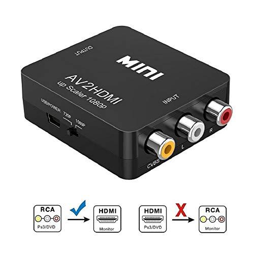 Adaptateur RCA vers HDMI Convertisseur AV en HDMI Adaptateur AV en HDMI Prise en Charge 1080P avec câble de Chargement USB Housse de Protection pour PC/Nintendo/Xbox / PS4 / PS3 / TV/STB/VHS