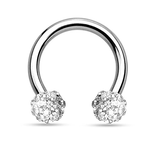 KULTPIERCING - Hufeisen Piercing Ring Horseshoe Circular Barbell Ohr Nase Lippe Kristall Ferido 1,2 x 8 x 3 Klar
