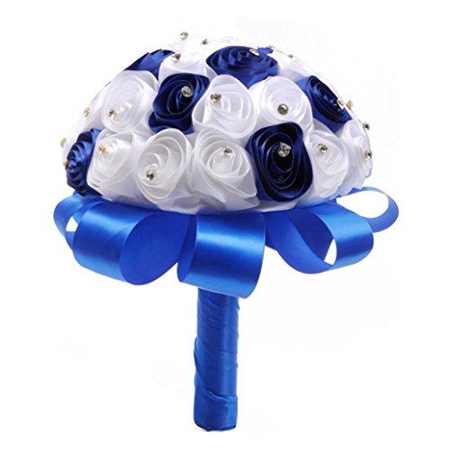 uß mit Blumen Kristall Rosen Perlen Brautjungfer Hochzeit Blumenstrauß Brautstrauß Kunstseide Blumen blau ()