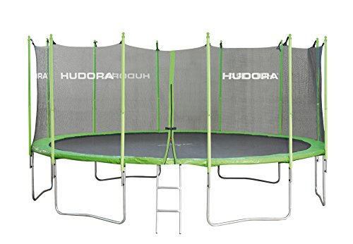 HUDORA Family Trampolin 250 cm - Gartentrampolin mit Sicherheitsnetz, grün/schwarz - 65620