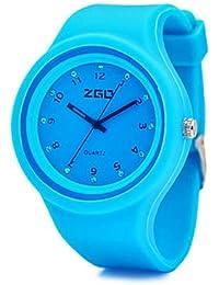 XKC-watches Relojes de Mujer, ZGO Agua de Color Reloj del Caramelo Deportes Correa