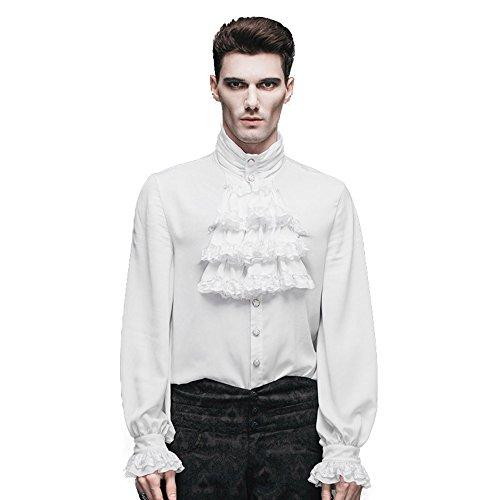 Spitzen Rüschen Hemd (Devil Fashion Herren Freizeit-Hemd (3XL, Weiß))