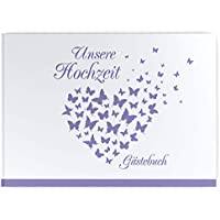 Gästebuch Flieder Hochzeit 23 x 25 cm 200 Seiten Geschenk Leinen Lila Fotoalbum