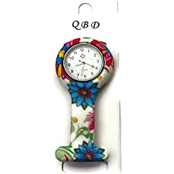 QBD Clip Series-Nurses Glowing Hands Red Cross Patterned Silicon Rubber Fob Watch - Flowers 28