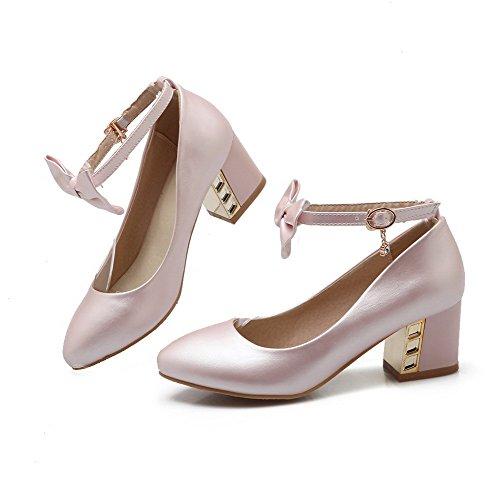 AllhqFashion Femme Pointu à Talon Correct Matière Souple Boucle Chaussures Légeres Rose