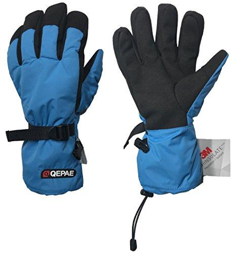 TOFERN Gants de Ski Homme Hiver Chaud Fort Doublure Thinsulate 3M Température -20°C Randonnée Imperméable Coupe-Vent Résistant, bleu XL(la largeur de paume de main 9-10cm)
