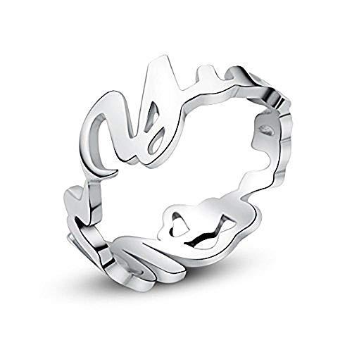 JoelleJewelryDesign Namensring mit Namen 925 Sterling Silber Personalisierte Silberring Unisex, Geschenkidee für Valentine Jahrestag