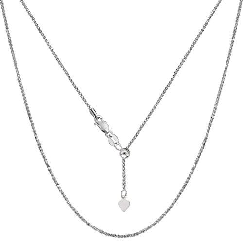 10K Weiß Gold verstellbar Weizen Link Kette Halskette, 1,0mm, 55,9cm (10 K Gold Herren Halskette)