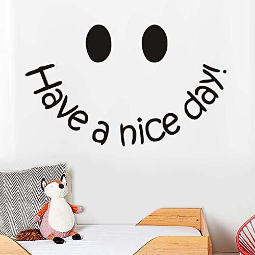 (Haben Sie einen schönen Tag Wand Lächeln Einfache Gesicht Termin Positive Einstellung Abnehmbare Vinyl Wandbild Kunst Für Kinder Schlafzimmer Wohnkultur 58X24 cm)