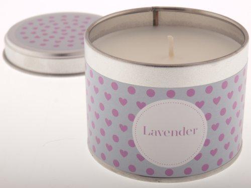 Pintail Candles-Candela in scatola di latta, motivo: cuori, colore: