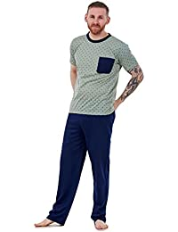 New Mens Pyjama Set Aztec Rich Cotton Henley Style Lounge Sleepwear PJs M To 3XL