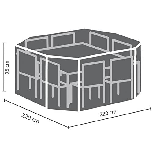 Perel Garden OCGS08Case For Square Lounge Set, Black, 220x 220x 95cm