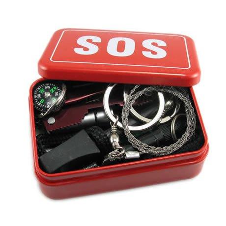 Conveniente al aire libre supervivencia primeros auxilios SOS Kit Box SOS
