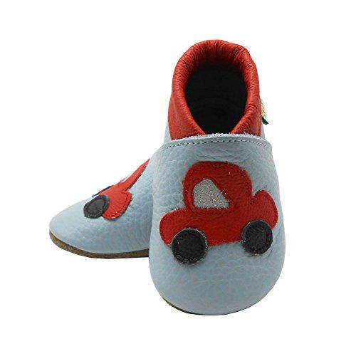 Sayoyo Premium Wagen WeichesLeder Lauflernschuhe Krabbelschuhe Babyschuhe mit Wildledersohle Grau