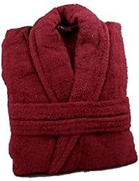 100% Cotton Terry Towelling Shawl Collar Bathrobe + Matching Belt - BURGUNDY