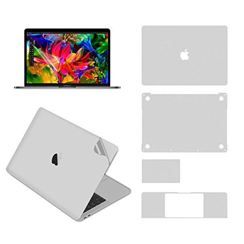 Lention Ganzkörper-Aufkleber für MacBook Pro (13-Zoll, 2016-2019, mit Thunderbolt 3), Vollschutzfolie für Vinyl-Aufkleber (Ober-/Unterseite/Touchpad/Handballenauflage)+Displayschutz (Silber) (Skins Macbook Pro Computer)