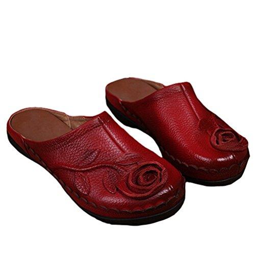 MatchLife Femme Vintage Cuir Flat Creux Pantoufles Style4-Rouge