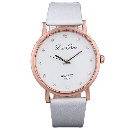 Uhren Dellin Diamant-Leder-Band-Runde Vorwahlknopf-Quarz-Armbanduhr der Art- und Weiseart-Frauen (Weiß)