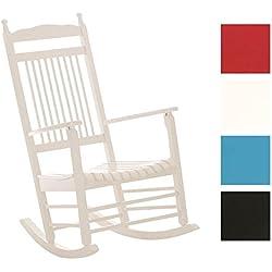 CLP Mecedora de madera MARISSA, cómodo y elegante, ideal para la terraza, el jardín y la sala de estar, altura del asiento: 47 cm, varios colores blanco
