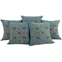 Attraente blu Set di 5 Cuscino Trendy copertura 16 da 16 Camel ricamato federe morbido cotone tiro cuscino da Rajrang